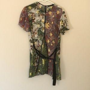 EUC Zara Multicolor Paisley Floral Silk Blouse